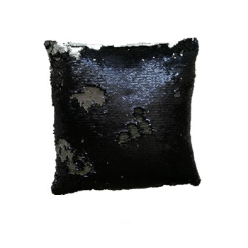 Povlak na polštář s flitry MAGIC 40 x 40 cm - černá / matná stříbrná