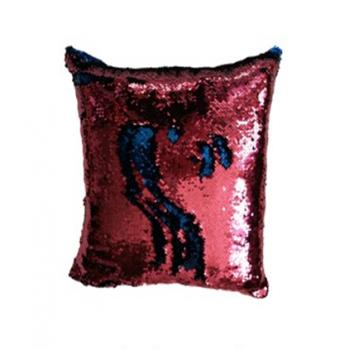 Povlak na polštář s flitry MAGIC 40 x 40 cm - růžová / modrá