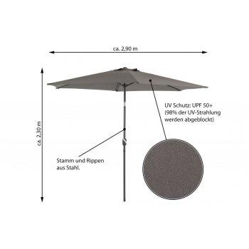 Slunečník sklopný 2,90 m - antracit