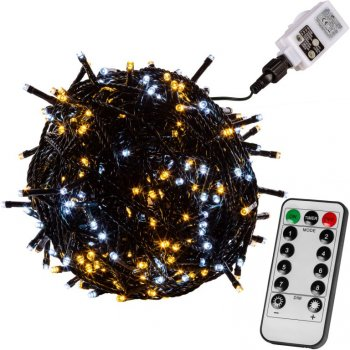 Vánoční řetěz 400 LED - 40 m, teple a studeně bílý