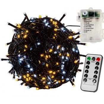 Vánoční řetěz 20 m, 200 LED, teple/studeně bílý, na baterie