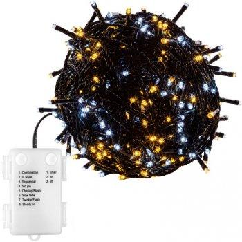 Vánoční osvětlení 10m - teple/studeně bílá 100LED na BATERIE