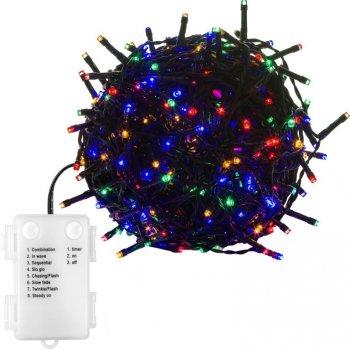 Vánoční řetěz 100 LED - 10 m, barevný, na baterie