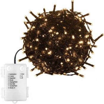 Vánoční řetěz 100 LED - 10 m, teple bílý, na baterie