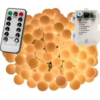 Párty LED osvětlení 5 m - teplá bílá 50 diod - BATERIE
