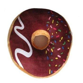 Polštář donut 3D - hnědý s barevnou posypkou