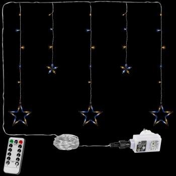 Vánoční závěs - 5 hvězd, 61 LED, teple a studeně bílá