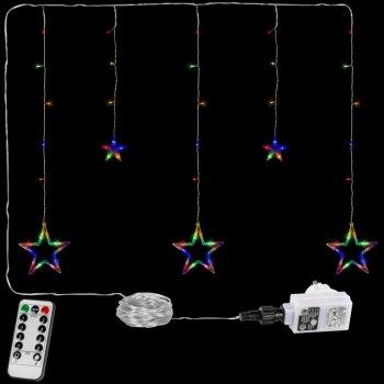 Vánoční řetěz - hvězdy - 61 LED barevná + ovladač