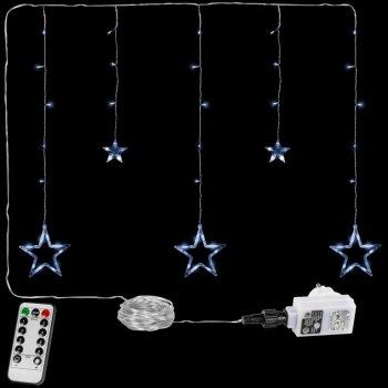 Vánoční závěs - 5 hvězd, 61 LED, studeně bílá, ovladač