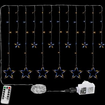 Vánoční závěs - 12 hvězd, 150 LED, teple a studeně bílá