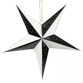 Vánoční dekorace hvězda s časovačem - 20 LED, černo-bílá