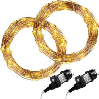 Sada 2 kusů světelných drátů - 200 LED, teple bílá