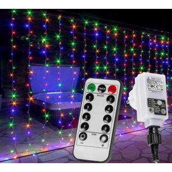 Vánoční světelný závěs - 6 x 3 m, 600 LED, barevný