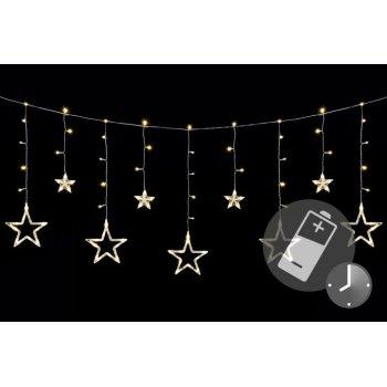 Vánoční LED řetěz - hvězdy, 1,65 m, 138 LED, teple bílé