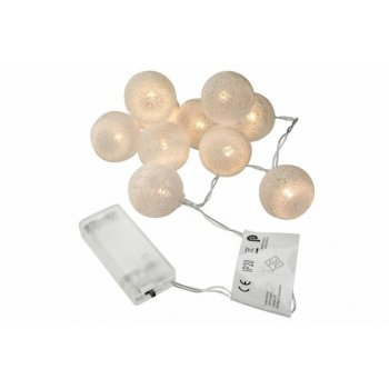 LED světelná dekorace - háčkované koule, 10 LED, teple bílé