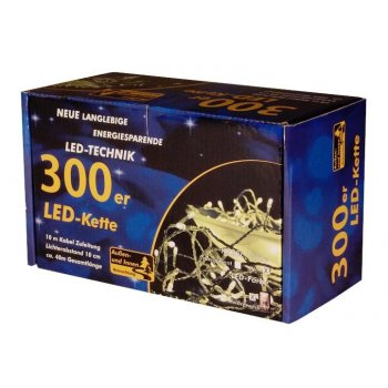 Vánoční LED řetěz - 30 m, 300 LED, teple bílý