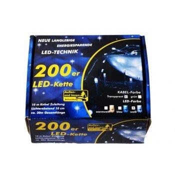 Vánoční LED řetěz - 18 m, 200 LED, studeně bílý