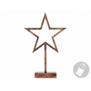 Vánoční dekorace -bronzová hvězda na stojánku, 38 cm, 20 LED