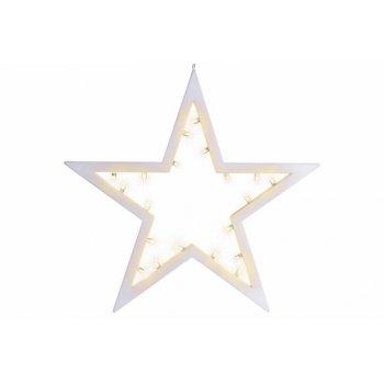 Vánoční dekorace - hvězda, 20 LED, teple bílá