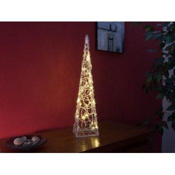 Vánoční akrylový jehlan 60 cm - teple bílý, na baterie