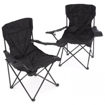Sada 2 ks skládacích židlí - černá