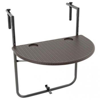 Závěsný sklopný stolek ratanového vzhledu - hnědý