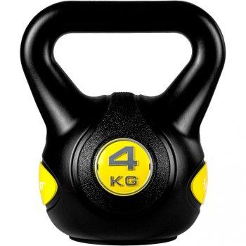 MOVIT Kettlebell činka - 4 kg, černá/žlutá