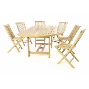 Zahradní nábytek DIVERO z teaku - stůl + 6 židlí