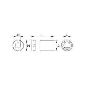 Nástavec 3/4 rázový šestihranný hluboký 30 mm CrMo