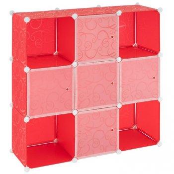 Úsporný zásuvný plastový regál - 108 x 110 x 37 cm, červený