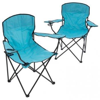 Sada 2 skládacích kempingových židlí - světle modrá