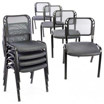 Sada stohovatelných židlí - 8 ks, šedá