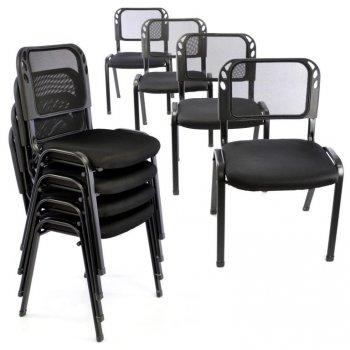 Sada stohovatelných židlí - 8 ks, černá