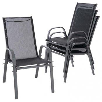 Sada zahradních stohovatelných židlí - 55 x 72 x 97 cm