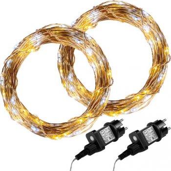 Sada 2 kusů světelných drátů - 200 LED, teple/studeně bílá