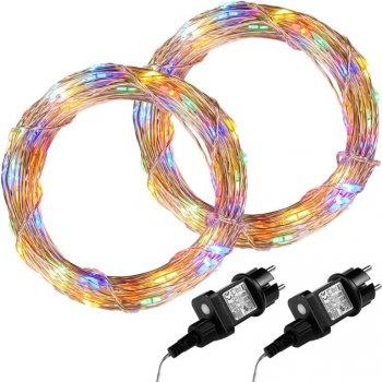 Sada 2 kusů světelných drátů - 200 LED, barevná