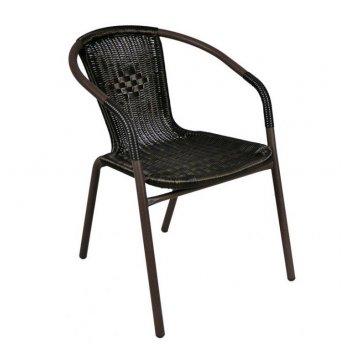 Zahradní ratanová židle Bistro - tmavěhnědá