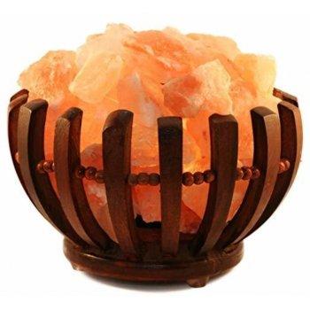 Dřevěná miska se solnými krystaly - kulatá, elektrická