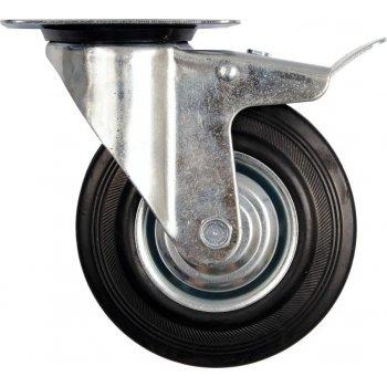 Kolečko otočné s brzdou, gumové, 130 kg