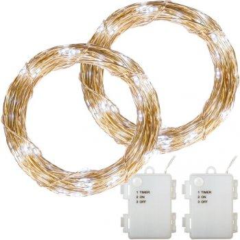 Sada 2 kusů světelných drátů - 200 LED, studená bílá