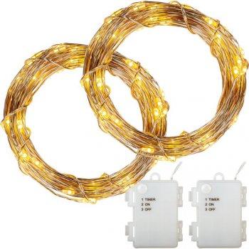Sada 2 kusů světelných drátů - 200 LED, teplá bílá