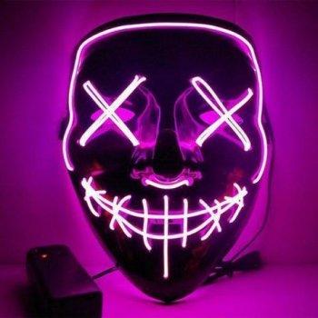 Maska se světelným efektem - The Purge - Růžová