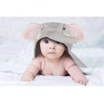 Dětská osuška s kapucí 76 x 76 cm - slon
