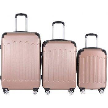 Sada cestovních kufrů 3-dílná, tvrdý plast, rosa gold