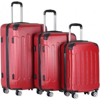 Sada cestovních kufrů 3-dílná, tvrdý plast, červená