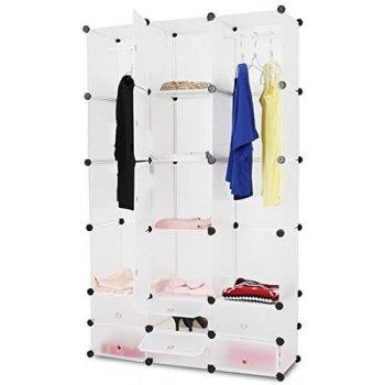 Šatní skříň s 12 přihrádkami, 110 x 37 x 180 cm, bílá
