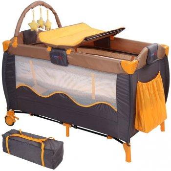 Dětská postýlka, cestovní, oranžová/šedá