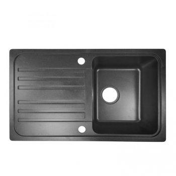 Granitový dřez s odkapávačem, černý