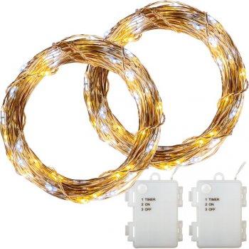 Sada světelných drátů - 200 LED, teple/studeně bílá