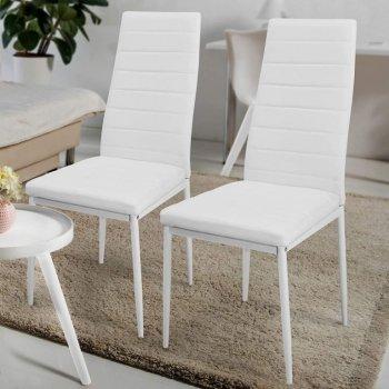 Sada jídelních židlí s PU kůží, bíllé, 2 ks